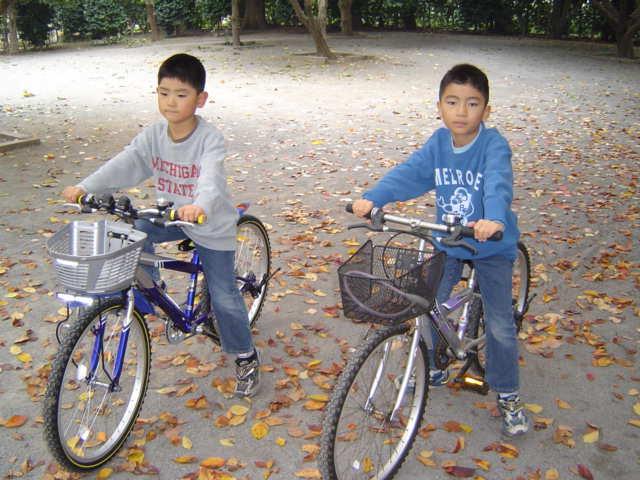 公園で自転車