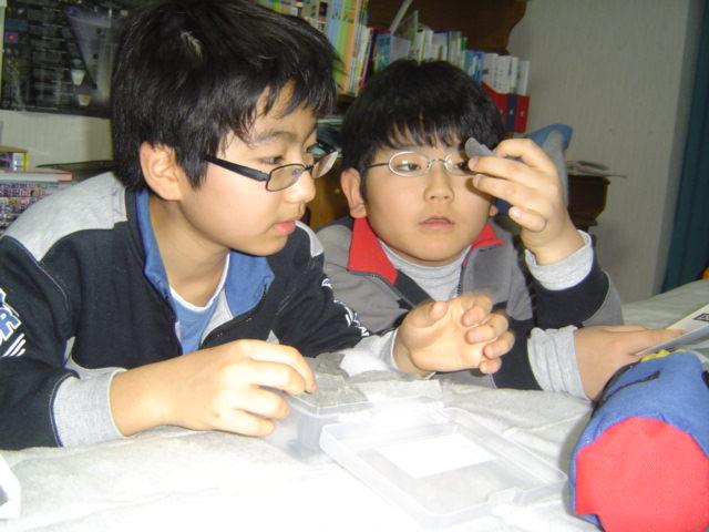 化石を吟味する子供達